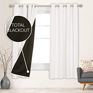 Deconovo 100% Blackout Curtains with Liner for Bedroom Thermal Insulated Noise Reduction Grommets Window Drapes for Living Room Kids Adults Room Home Gym, 2 Panels, Each 52x72 in, Cream