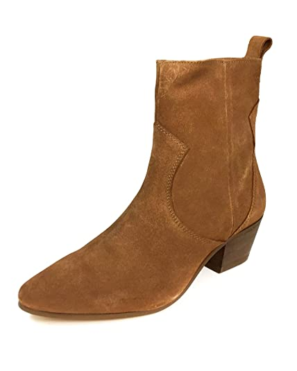 ed1eebccbe29 Zara Women s Leather Cowboy Heel Ankle Boots 2156 001 Brown  Amazon ...
