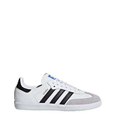 outlet store 05e1b 1ef18 Amazon.com  adidas Originals Samba OG J WhiteBlack Leather Youth Trainers  Shoes  Sneakers