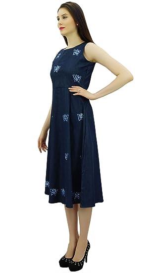 Bimba mujeres de Shift bordado dril de algodón vestido sin mangas media pantorrilla Varios vestidos: Amazon.es: Ropa y accesorios