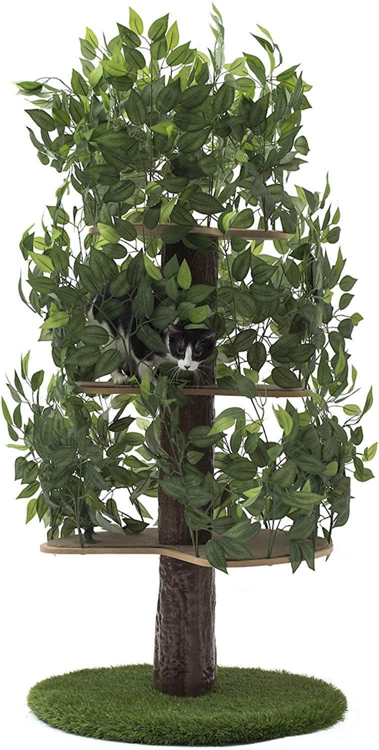 On2 Pets Cat Tree With Leaves Made In Usa Large Round Cat Condo Cat Activity Tree In Evergreen Pet Supplies