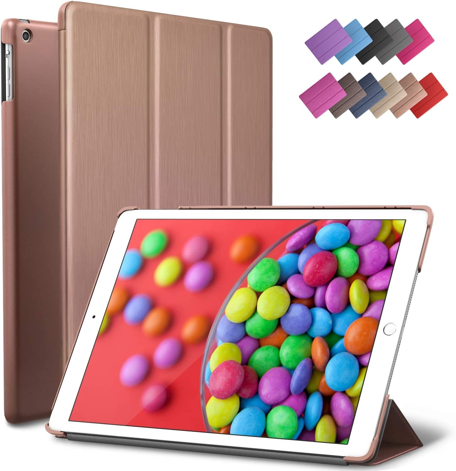 ROARTZ iPad Air Case, Rose Gold Slim Fit Smart Rubber Coated Folio Case Hard Shell Cover Light-Weight Auto Wake/Sleep for Apple iPad Air 1st Generation Model A1474/A1475/A1476 Retina Display