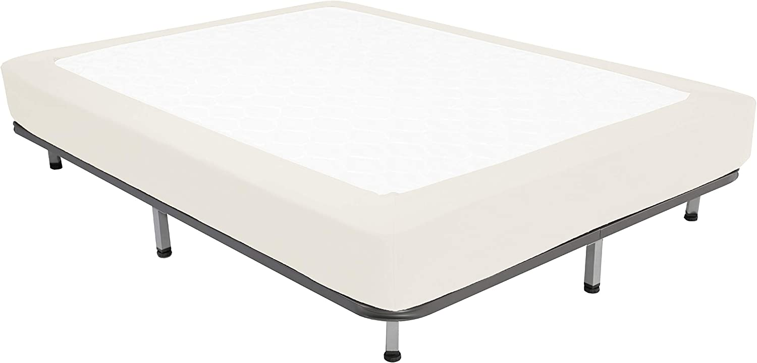 Box Spring Cover Queen Size - Jersey Knit & Stretchy Wrap Around 4 Sides Bed Skirt for Hotel & Home - Queen/Cal Queen, Beige