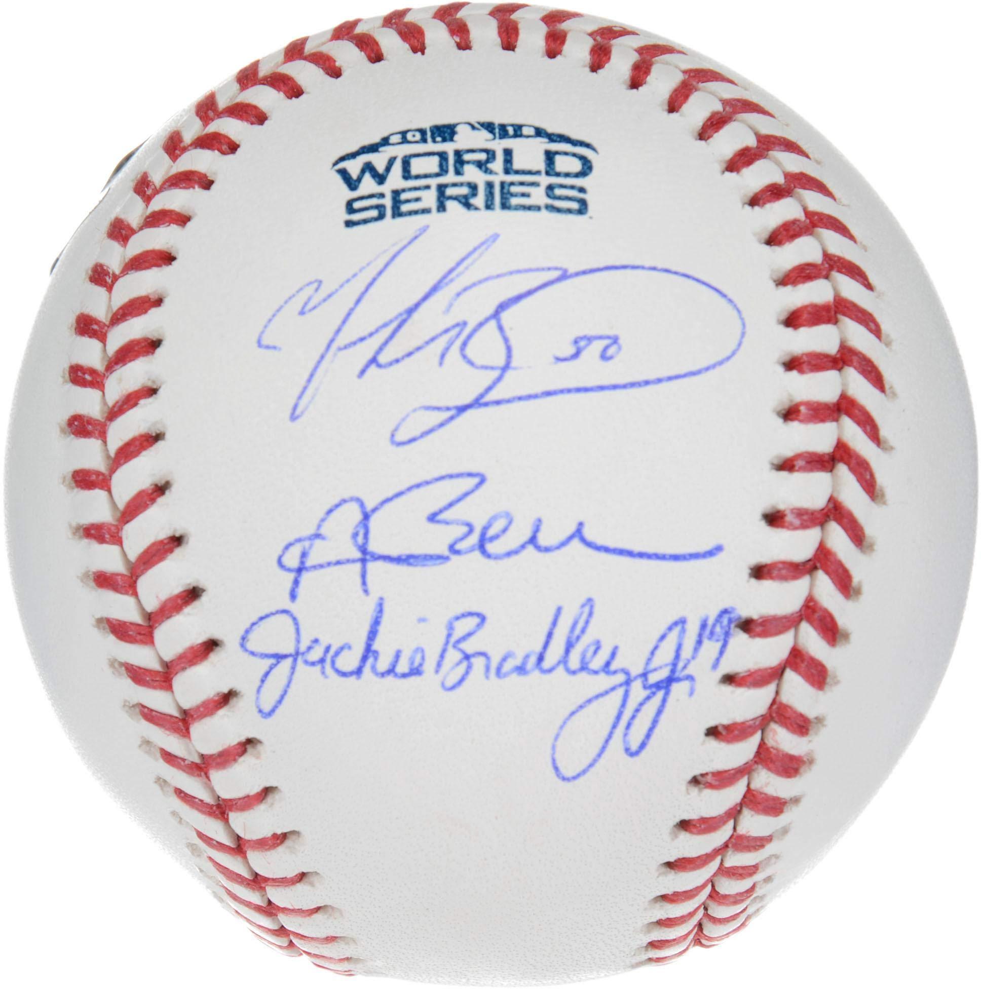 Andrew Benintendi, Mookie Betts and Jackie Bradley Jr. Boston Red Sox 2018 MLB World Series Champions Autographed Logo Baseball Fanatics Authentic Certified