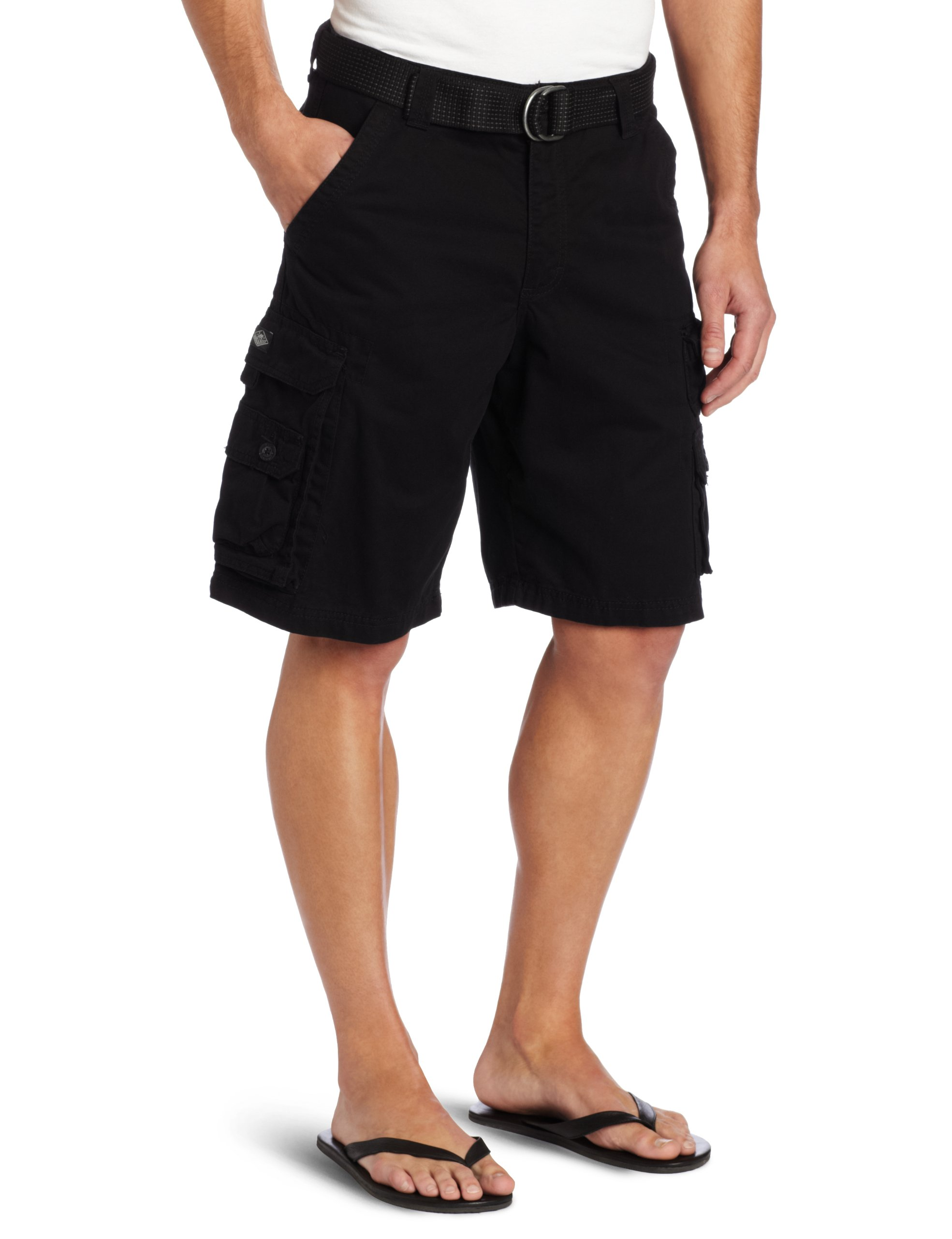 LEE Men's Big-Tall Dungarees Belted Wyoming Cargo Short, Black, 48