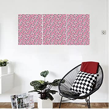 Amazon.com: Liguo88 Custom canvas Floral Abstract Daisies on Pink ...