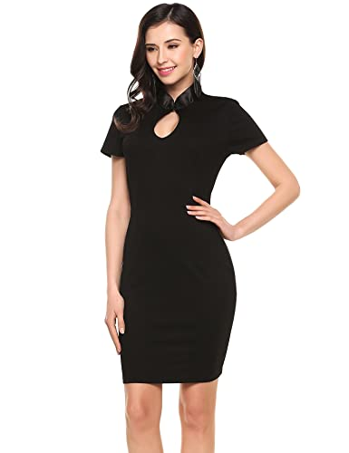 Angvns Women's Sexy Business Bodycon Pencil Formal Office Keyhole Work Dress