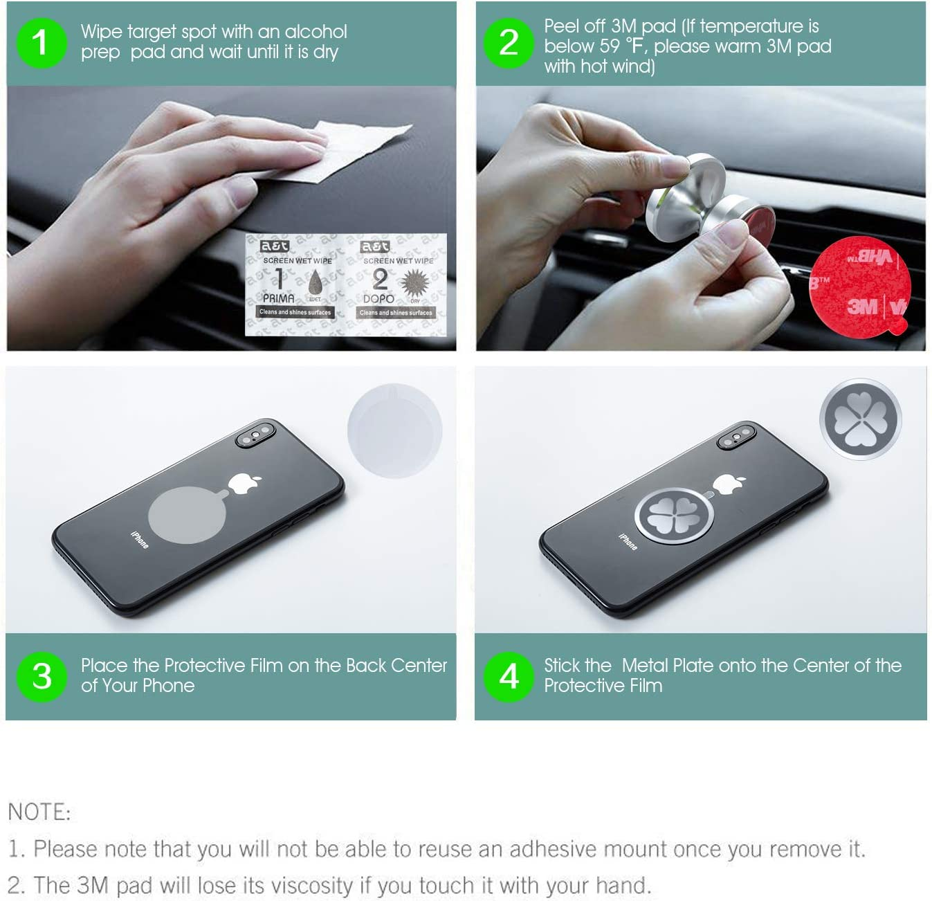 Strong Magnet Cell Phone Holder for Car Dashboard with Strongest VHB Adhesive IKOPO Car Phone Mount Magnetic Silver
