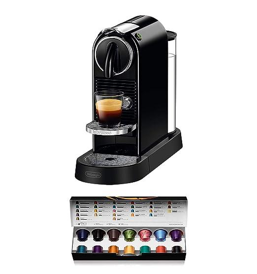 Nespresso DeLonghi Citiz EN167.B - Cafetera monodosis de cápsulas Nespresso, compacta, 19 bares, apagado automático, color negro