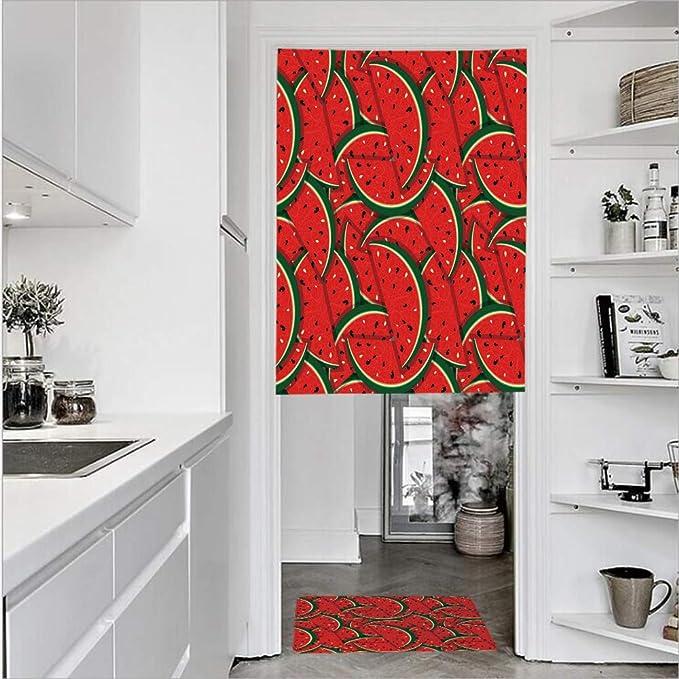 Cortinas de puerta de lino impreso en 3D con textura francesa de 1 panel y 1 alfombrilla de felpudo de cocina, diseño de melón de agua de salpicaduras de semillas, color amarillo,