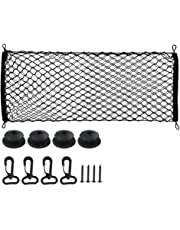 "Hmxpls Trunk Cargo Net Multipurpose Elastic Storage Mesh Trunk Luggage Cargo Storage Network Organizer with Mounting Screws Adjustable Hooks Black 35.4"" x 15.4"""