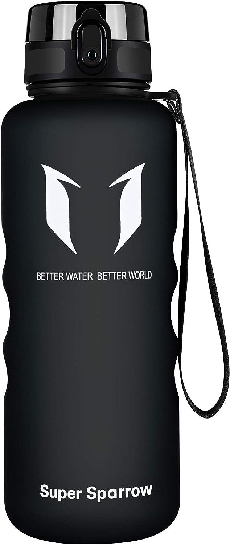 Super Sparrow Botella Agua Deporte Botellas Sin BPA, Reutilizable Tritan Plástico Ecologica, 1.5L, Cantimploras para Gimnasio, Bicicleta, Colegio, Oficina, Viajes