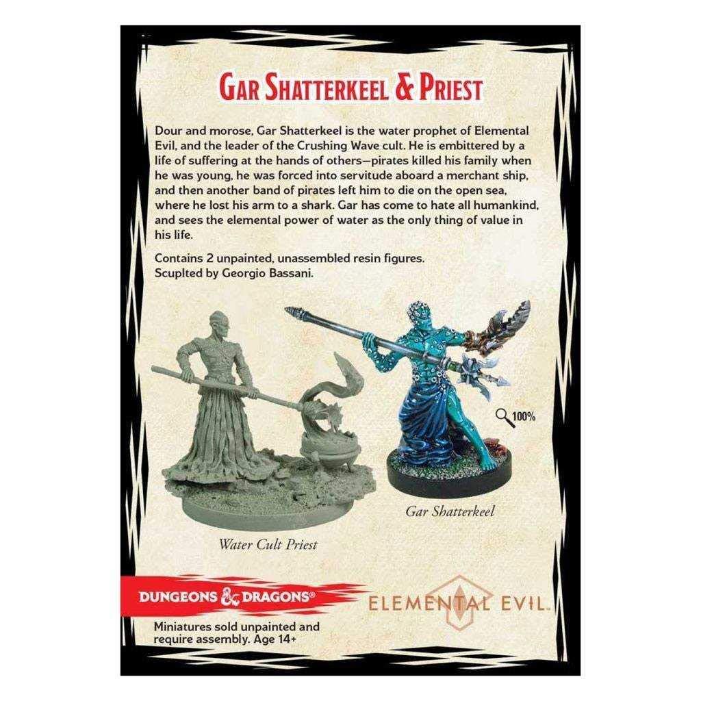 2 Figs Board Games Gar Shatterkeel /& Water Priest Dungeons /& Dragons Elemental Evil