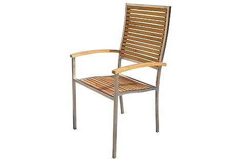 Sedie Schienale Alto Legno : Outflexx sedia in acciaio inox legno di teak legno con schienale