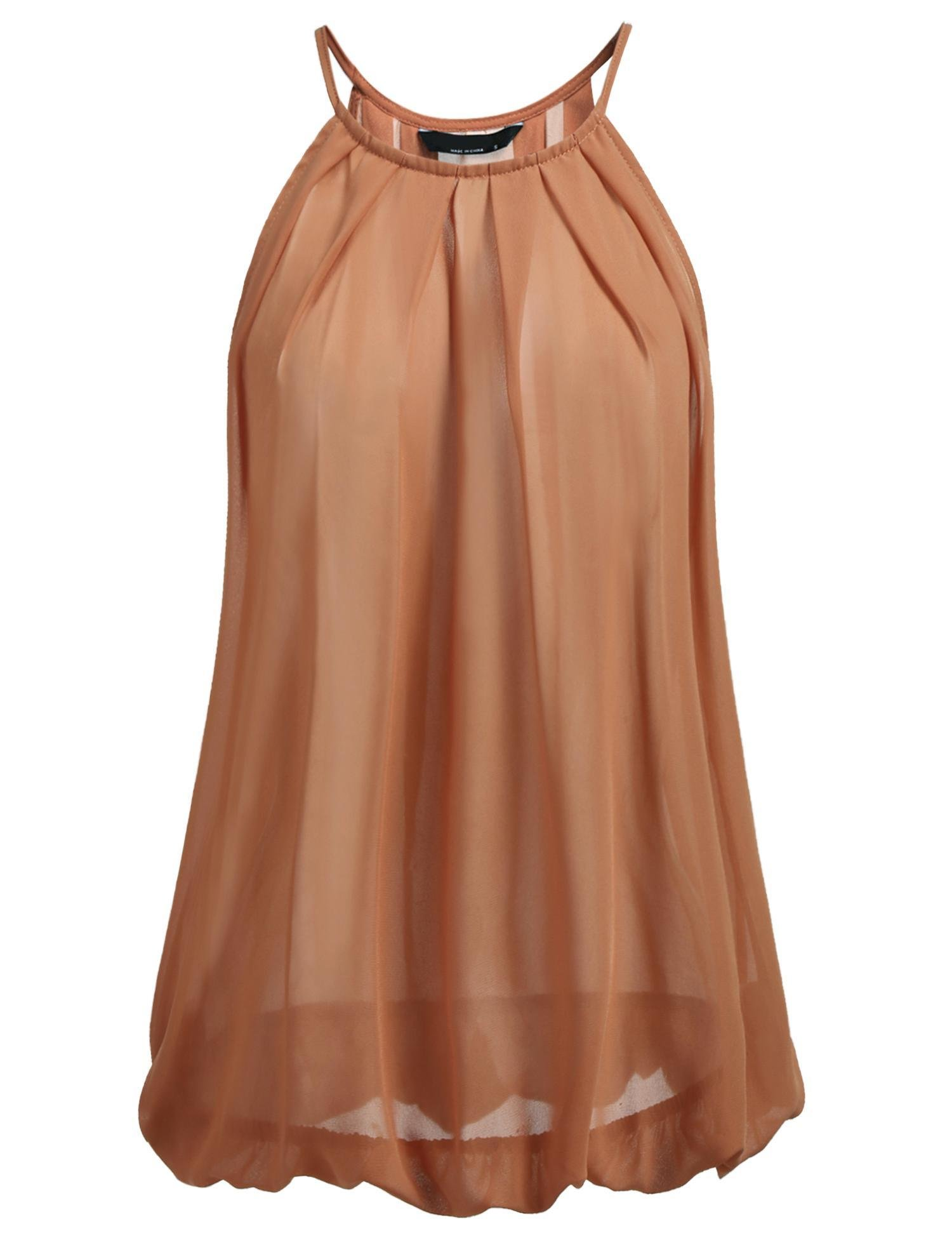 Adoeve Ladies Casual Chiffon Tank Top Pleated Sleeveless Blouse Shirt (Coffee, Large)