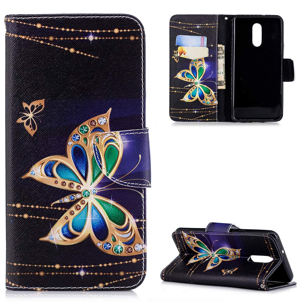 LG Q Stylo 4 Case, Painted Wallet Case PU Leather Credit ID Card Magnetic Flip Protective Skin Shell with Wrist Rope for LG Q Stylo 4 ZSTVIVA - Gold Butterfly by ZSTVIVA