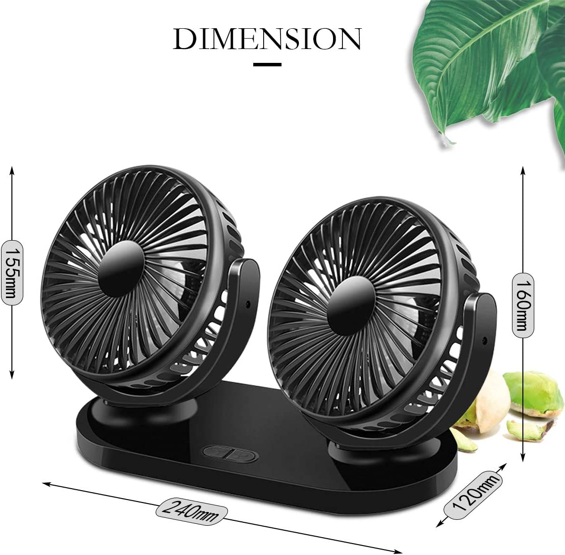 12V//24V Universal 360/° Rotating Dual Heads Car Fan Electric Auto Cooling Fan With 3 Speeds Adjustable and USB Charging for Car Home Office(Black Uong Car Fan
