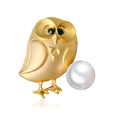 73361a7b14 GTHYUUI 1X Fashion Elegant Brooch Cute Gold Plated Owl Decorated with Blue  Crystal Eyes and White