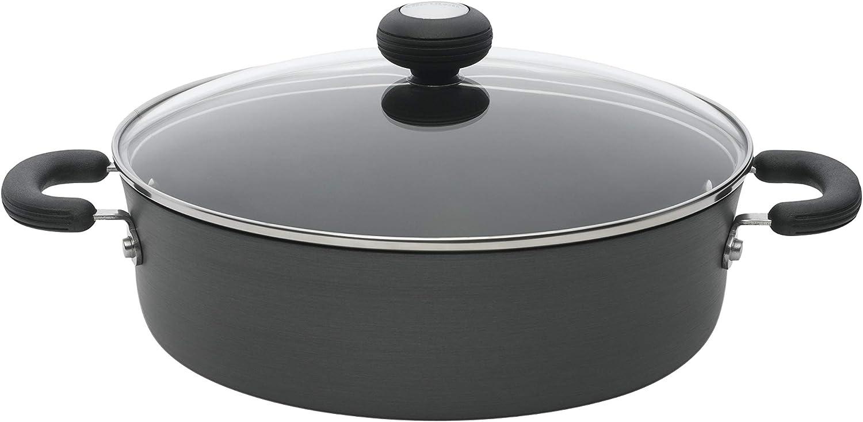 Circulon Hard-Anodized Nonstick 4-Quart Covered Casserole, Black