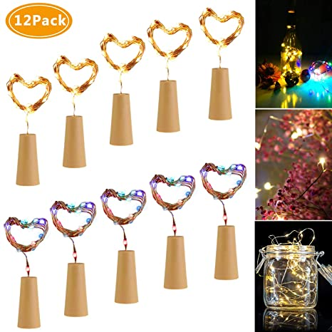 Luces de Botella,Emooqi 12Pcs Corcho Botella Luces Luz de Botella Luces de la Botella