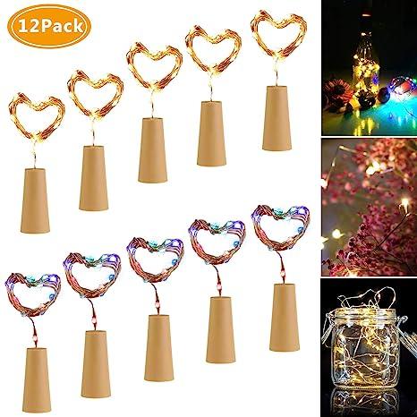 Luces de Botella,Emooqi 12Pcs Corcho Botella Luces Luz de Botella Luces de la Botella