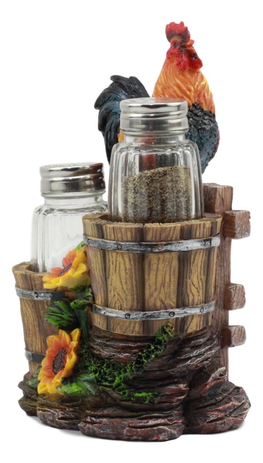 Ebros Sunflower Farm Crowing Rooster Standing On Fence By Old Fashioned Wooden Buckets Glass Salt And Pepper Shakers Holder Figurine 6.5H Chicken Country Western Decorative Sculpture Ebros Gift