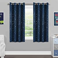Blackout Kids Room Curtains Twinkle Stars Blockout Bedroom Curtain Draperies for Boys/Girls - Thick Soft Fabric with…