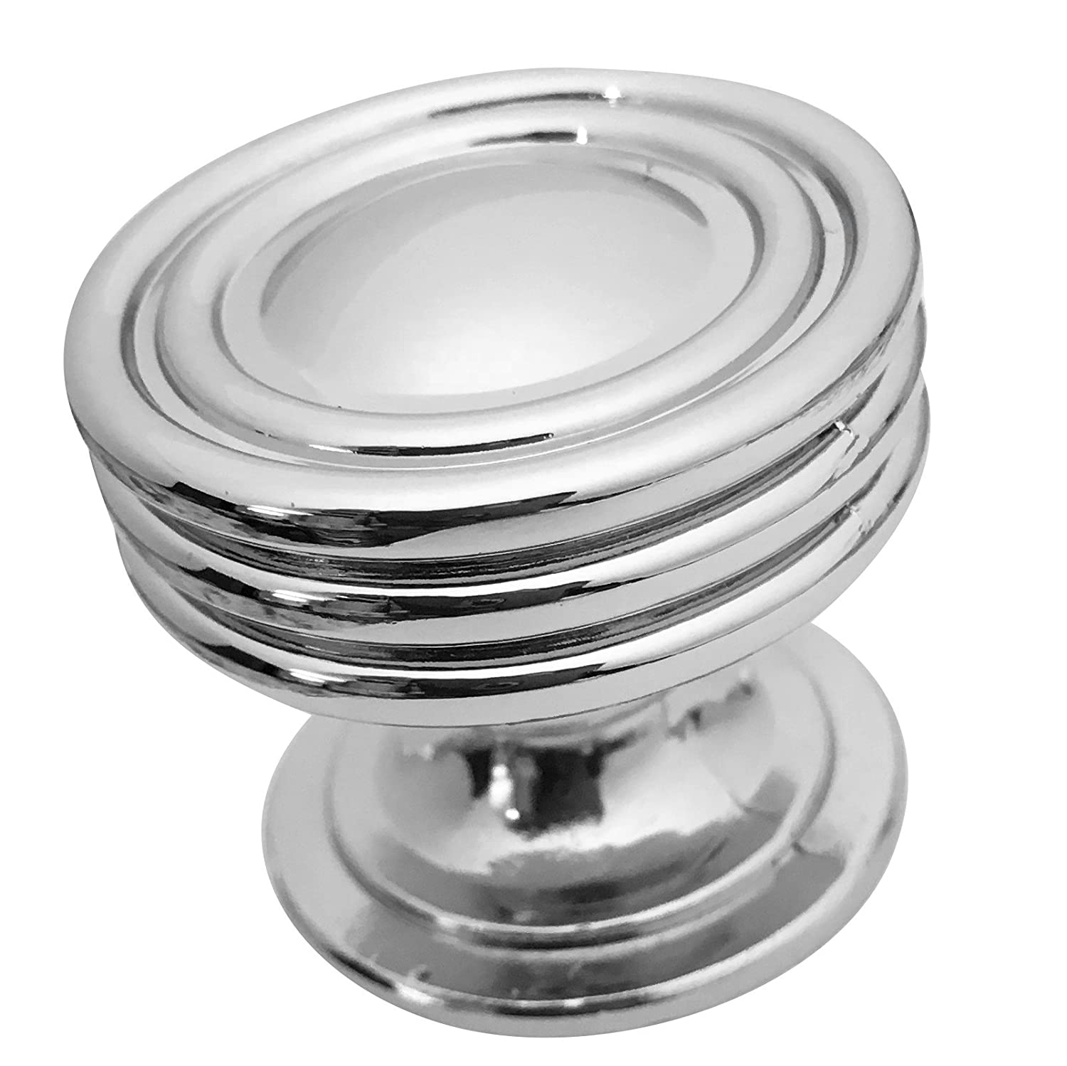 Polished Chrome Cabinet Knob by Southern Hills, Round Cabinet Knobs, 1 1/4 Inch Diameter, Pack of 5 Knobs, Chrome Cabinet Knobs, Cupboard Knobs, Kitchen Cabinet Knobs Chrome, SHKM008-CHR-5