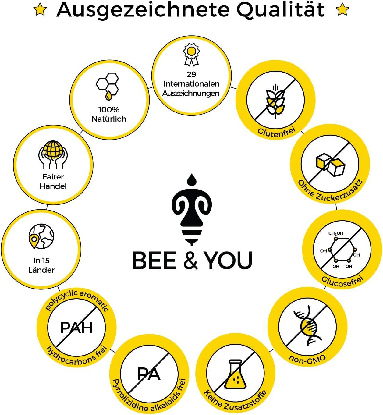 Bee /& You Gel/ée Royale et Propolis au Miel pour enfants Miel Cru, Ingr/édients Naturels et sous Contr/ôle