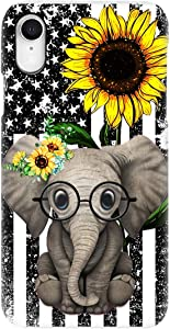 Beautiful Sunflower with Elephant Phone Case for Apple iPhone - Glass Case with Unique Fashion Printed Design, Slim Fit, Anti Scratch, Shock Proof,Case Cover Compatible for iPhone,8 Plus/7 Plus