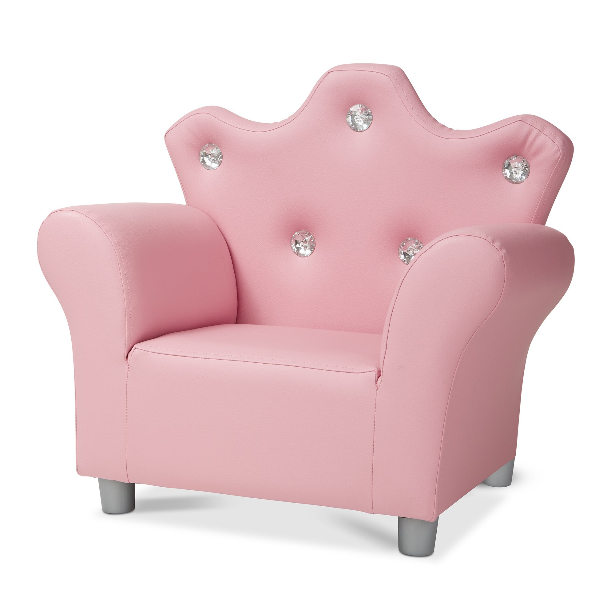 Melissa & Doug Child's Crown Armchair - Pink Faux Leather Children's Furniture - Amazon Exclusive