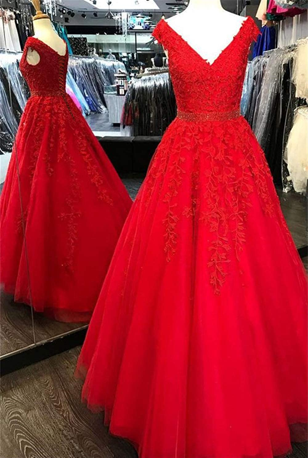 Lemai Women V Neck Beaded Lace Appliques Tulle Long Formal Evening Prom Dresses