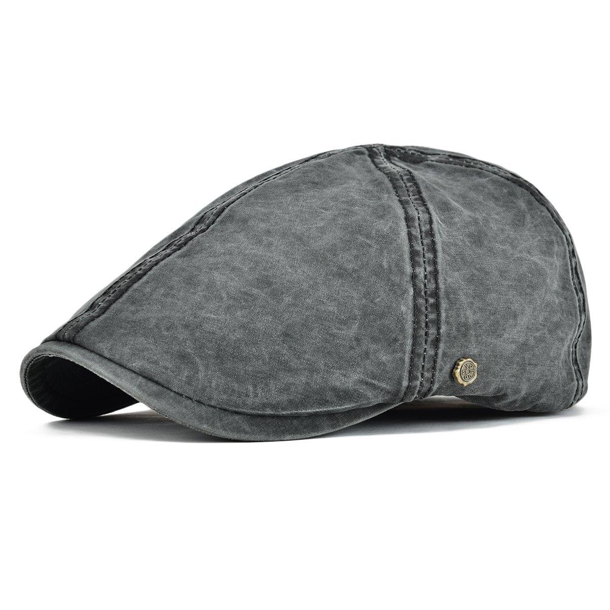 da43e8bb25c Galleon - VOBOOM Ivy Caps 100% Cotton Washed Plain Flat Caps Newsboy Caps  Cabbie Hat (59cm-60cm 7 3 8-7 1 2
