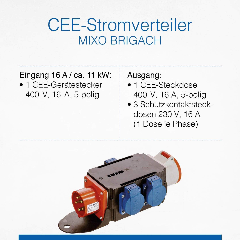 As Schwabe Mixo Adapter Stromverteiler Brigach Cee Stecker Auf 5 Polige Cee Steckdose 3 Schuko Steckdosen Robuster Baustellen Starkstrom Verteiler Ip44 Made In Germany I 60520 Baumarkt