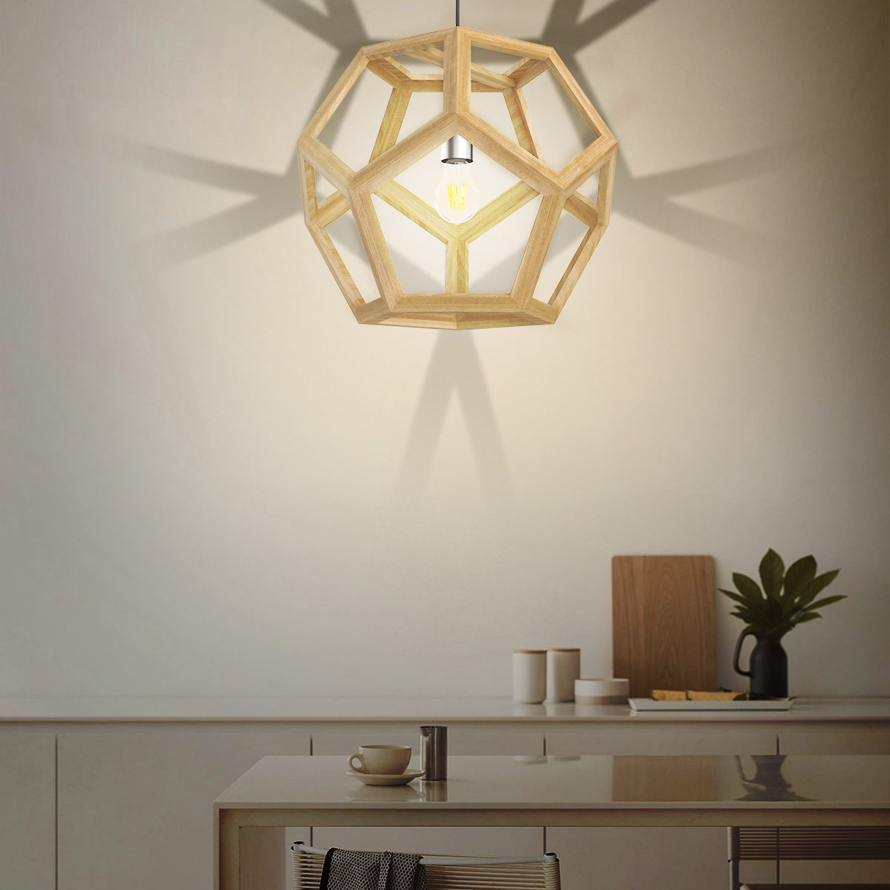 Tomons Hollow Design Wood Ceiling Pendant Lamp, Geometry Shape, E26/E27 Bulb Base, 60 Watts Incandescent Bulb, 12 Watts LED Bulb For Dining Room, Living Room, Bedroom, Study Room - PL1002 by tomons (Image #5)