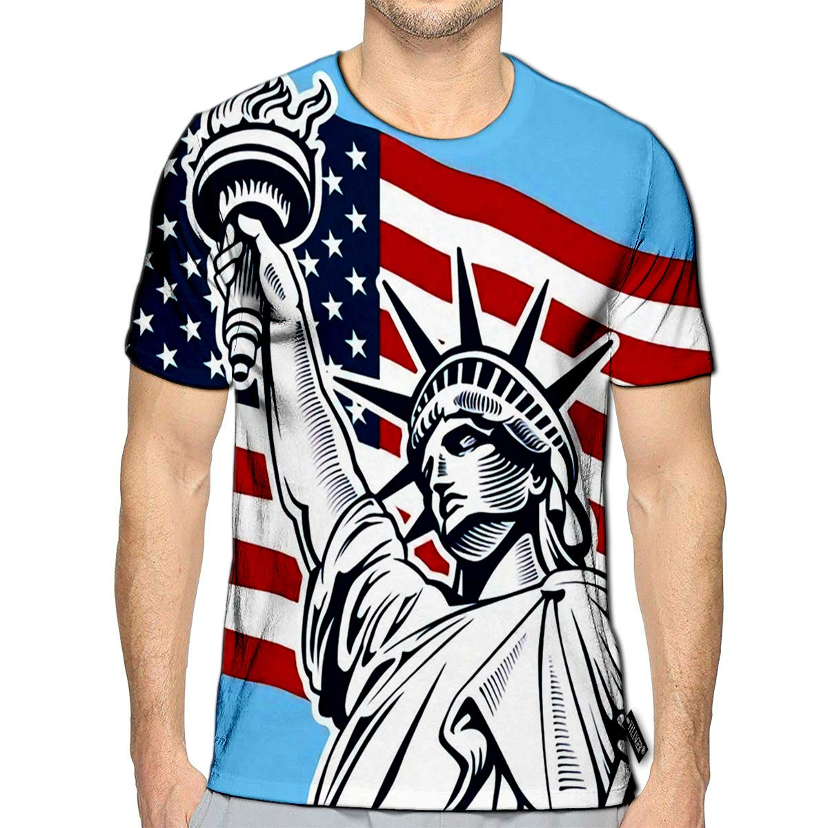T-Shirt 3D Printed Statue of Liberty USA Flag NYC Fourth July Independence Day Casual Tees