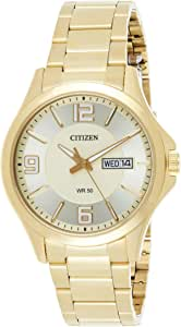Citizen Men Gold Dial Stainless Steel Band Watch - BF2003-50P