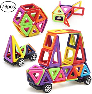 Twinsisi 76pcs Magnetic Blocks, Magnetic Building Blocks, Magnetic Tiles for Kids,Travel Set for Toddlers, Educational Stacking Toys for Kids Over 3 Years Old (Mini Size)