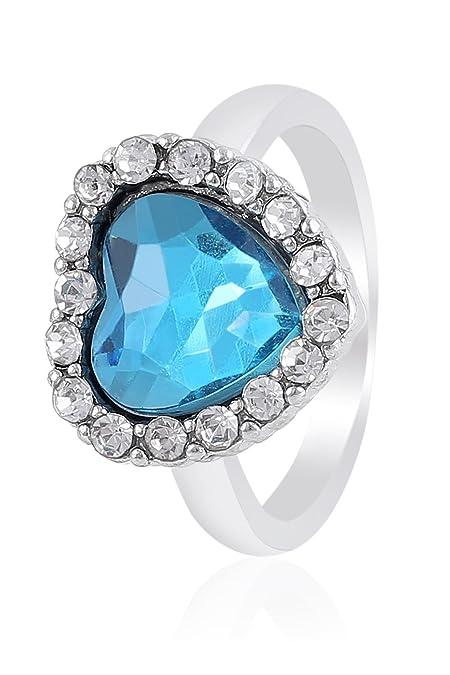[Entrega en 8-12 días laborables] Fasherati azul Corazón de cristal anillos para