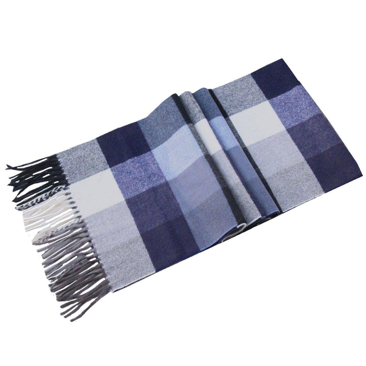 Lucky Leaf Women Men Winter Cozy 100% Wool Warm Tartan Checked Plaid Wrap Scarf (Navy White Plaid)