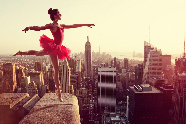 Ballett Tanz New York Skyline XXL Wandbild Kunstdruck Foto Poster P0785 Größe 150 cm x 100 cm, Größe 150 cm x 100 cm