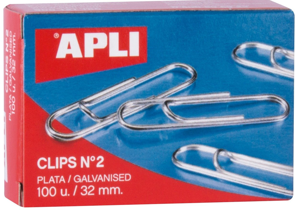 Pack of 100 2 X Paperclips Metal Large 32mm Plain
