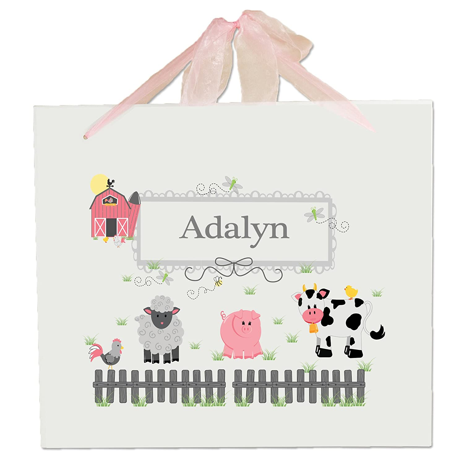 Personalized Barnyard Friends Nursery Wall Hanging Plaque with pink ribbon MyBambino