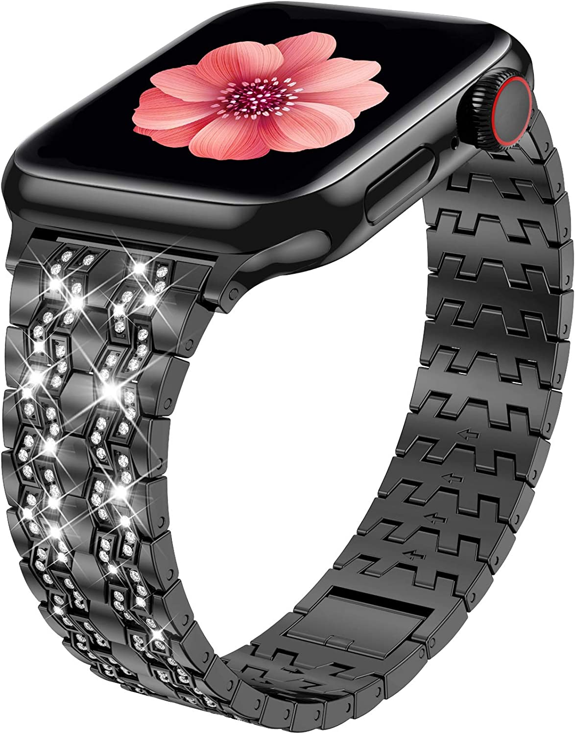 Fitlink Compatible with Apple Watch Band 38mm 40mm 42mm 44mm Series 6 Series 5 4 3 2 1 SE, Bling Dressy Jewelry Metal Adjustable Apple Watch Bands for Apple Watch 6/5/4/3/2/1 (Glossy Black, 42/44mm)