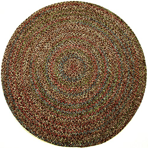 Sonya Indoor/Outdoor Round Reversible Braided Rug, 8-Feet, Brown Multicolor