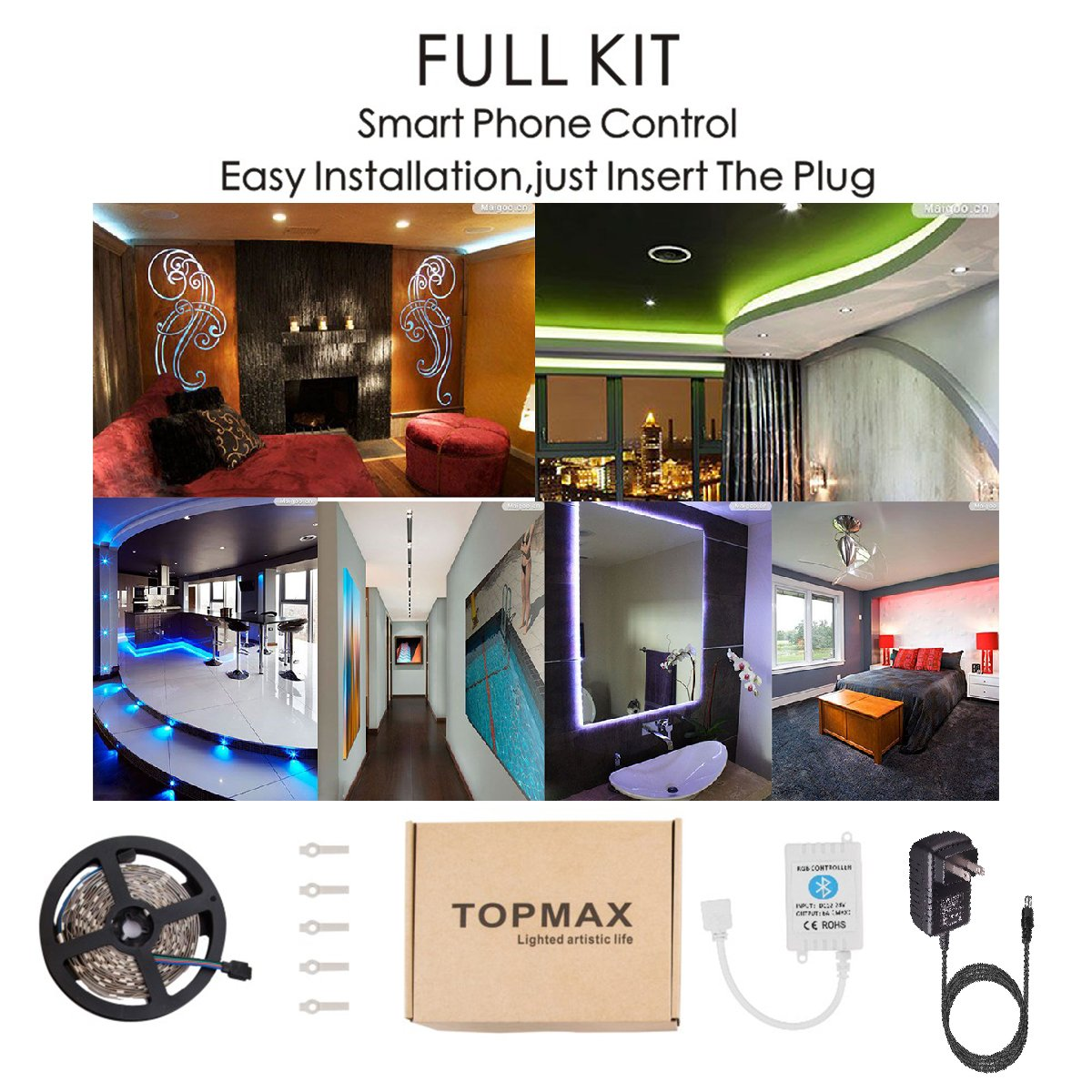 Led Strip Lights Topmax Bluetooth Smartphone Controlled Rgb Fashion Lighting Controller Circuit Schematic Circuits Light Kit 164ft 5m 150leds 5050 Non Waterproof With 12v 3a Power