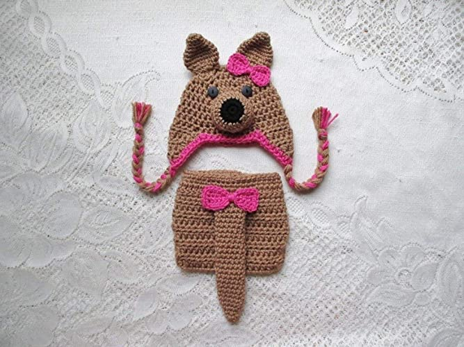Amazon.com  Baby Kangaroo Crochet Hat and Diaper Cover Set - Photo Prop -  Available in 0 to 24 Months  Handmade 5ac5ed964f91