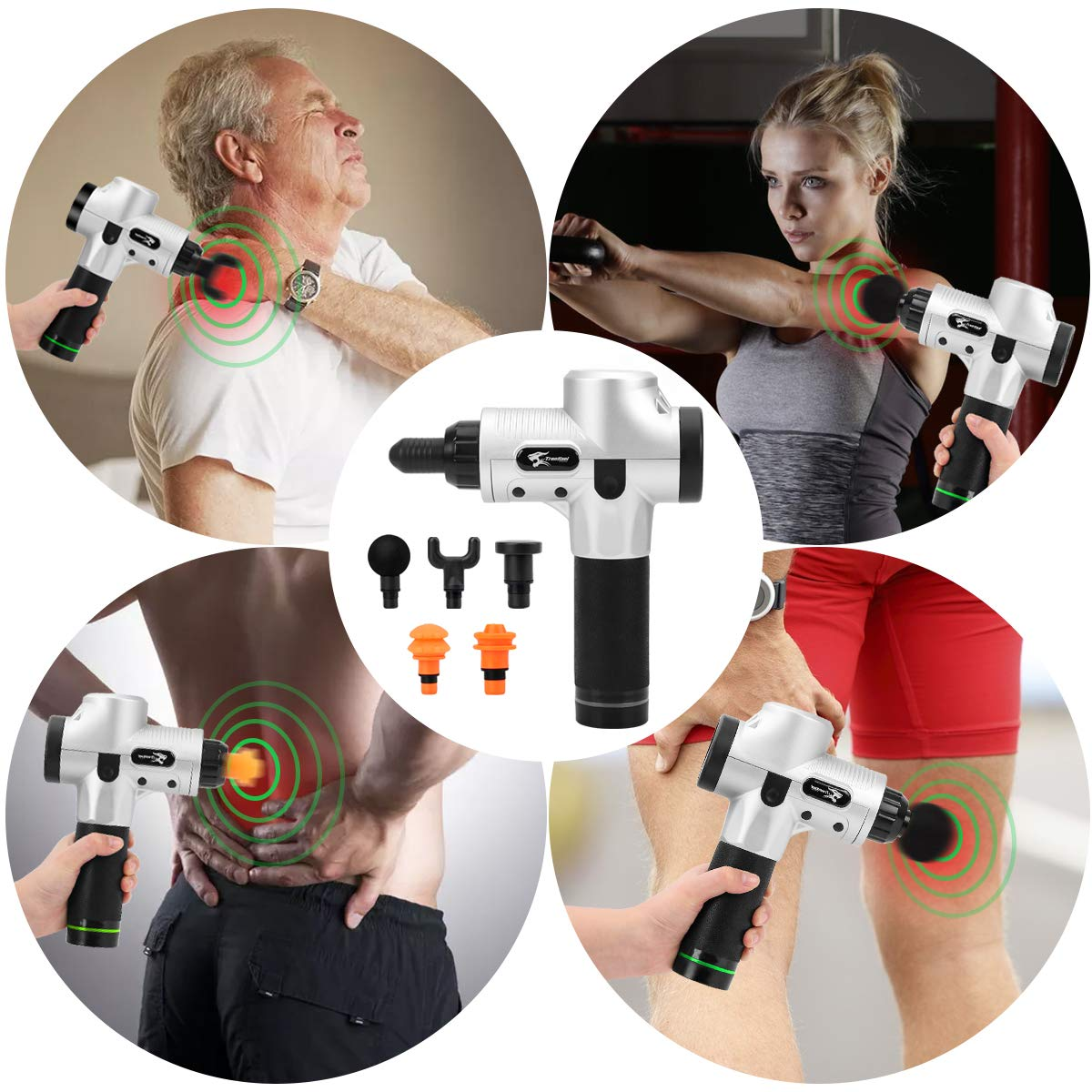 Upgraded Massage Gun, Deep Tissue Percussion Muscle Massager Pain Relief, with 6 Massage Heads Handheld Vibration Portable Super Quiet Brushless Motor
