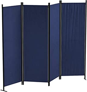 Ecolinear 4 Panel Room Divider Folding Screen Home Office Dorm Indoor Decor Privacy Accents (Blue)