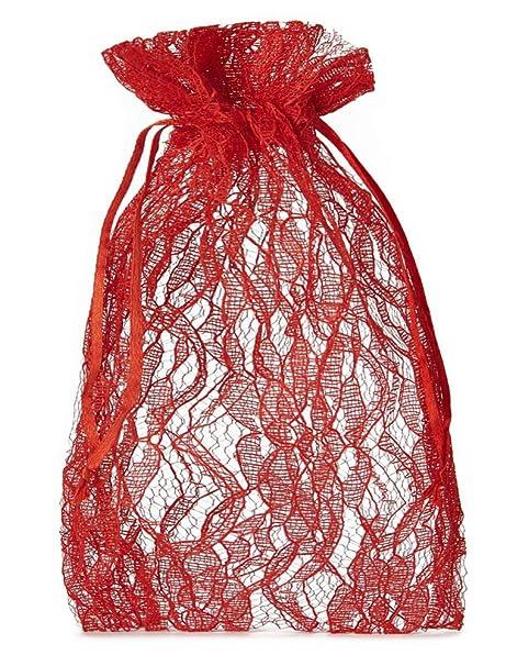 30 bolsitas de organza con encaje y cordón, tamaño 18 x 11 ...